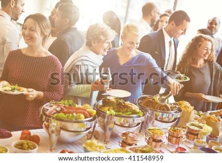 Diversity People Enjoy Buffet Party Concept - stock photo