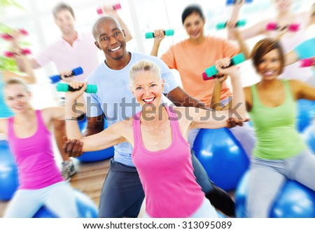 Diversity People Healthy Fitness Weights Training Concept - stock photo