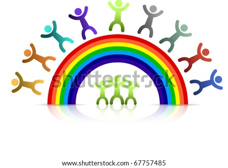 Diversity rainbow kids isolated over a white background - stock photo