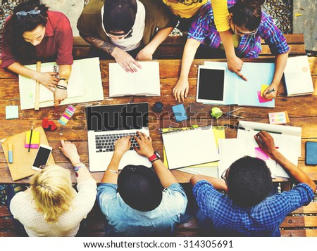 Diversity Teamwork Brainstorming Meeting Outdoors Concept - stock photo
