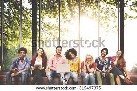 Diversity Teenagers Friends Friendship Team Concept - stock photo