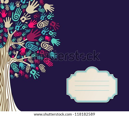 Diversity tree hands illustration with blank for text greeting card template. - stock photo