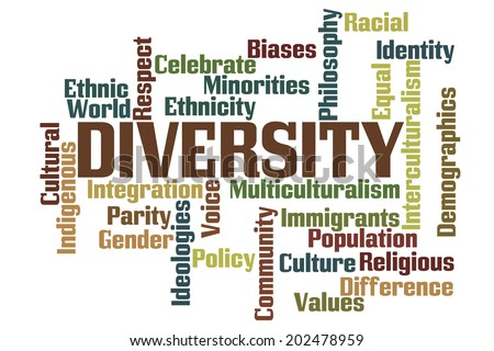 Diversity Word Cloud with White Background - stock photo