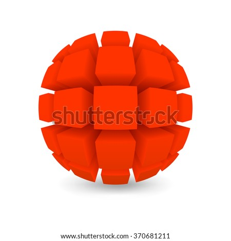 Divided red sphere. Object on a white background. EPS version is available as ID 344678474. - stock photo