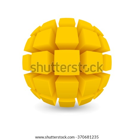 Divided yellow sphere. Object on a white background. EPS version is available as ID 344678441. - stock photo