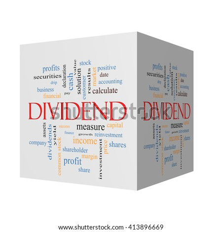 Dividend 3D cube Word Cloud Concept with great terms such as pay, assets, yield and more. - stock photo