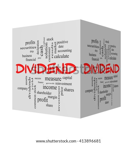 Dividend 3D Word Cloud Concept in red caps with great terms such as pay, assets, yield and more. - stock photo