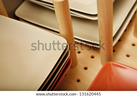 Divider in plate drawer - stock photo