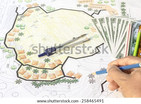 Divider instrument  on construction plan, or design for any other project - stock photo