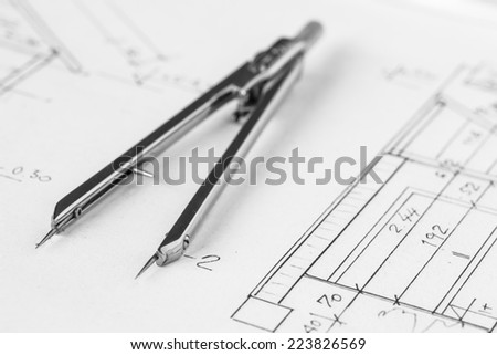 Divider on a technical drawing, construction plans