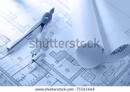 Dividers on a draft, closeup - stock photo