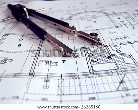 dividers on architectural plan - stock photo