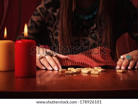 Divination runes - stock photo