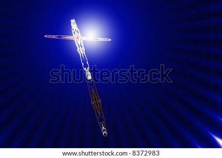 Divine light shines on a tilted cross stylized by fractals - stock photo