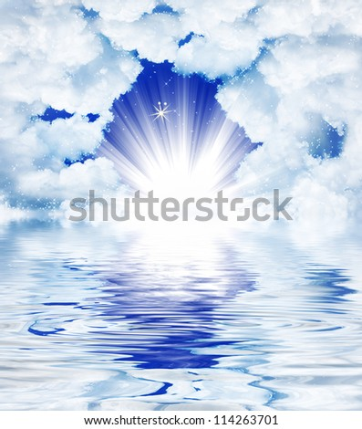 Divine light through the clouds - stock photo