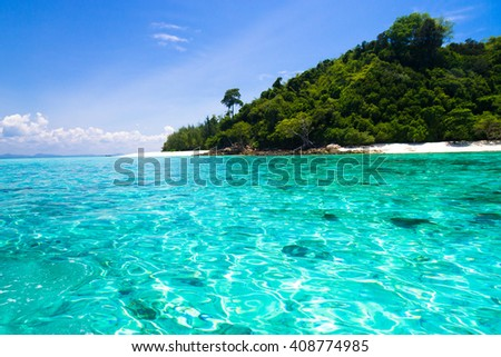 Divine Shoreline In Paradise Found  - stock photo