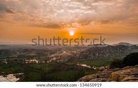 Divine View from top of Anjanadri Parvat (Hill) - birth place of Lord Hanuman from Hindu Mythology - stock photo
