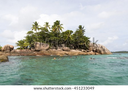 Diving and snorkeling spot St. Pierre island at Seychelles, Indian Ocean