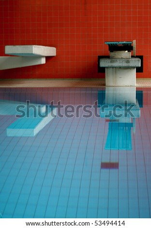 diving board and platform - stock photo