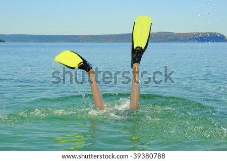 diving child - stock photo