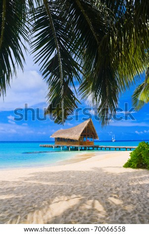 Diving club on a tropical island - travel background - stock photo