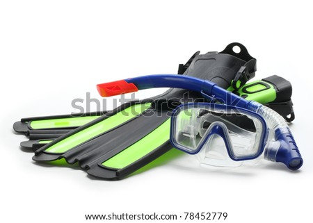 Diving equipment--Blue diving goggles,snorkel and flippers on white background. - stock photo