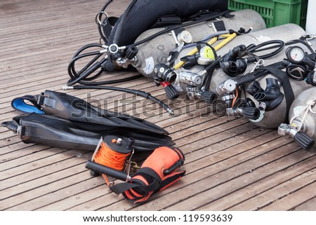 Diving equipment on the safari boat