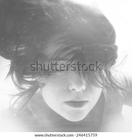 Diving girl. Mermaid face with hair floating in water. Black and white retro stylized underwater photography - stock photo