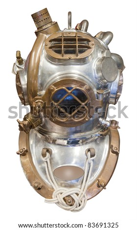 Diving helmet in brass and steel for deep sea diving, isolated with clipping path - stock photo