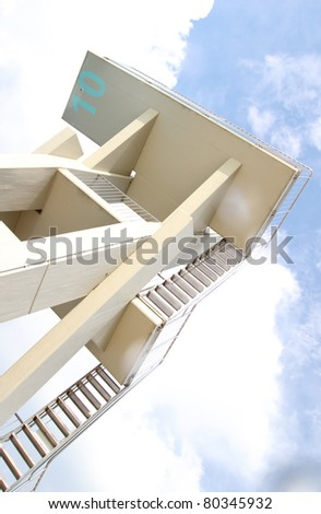 diving platform in sky - stock photo