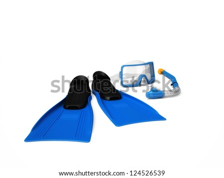 DIVING SET - FLIPPERS AND MASK WITH TUBE