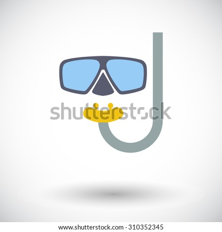 Diving. Single flat icon on white background.  illustration. - stock photo