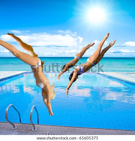Diving Together People - stock photo