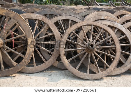 division of old wheel from a cart, Mae Sot, Thailand - stock photo