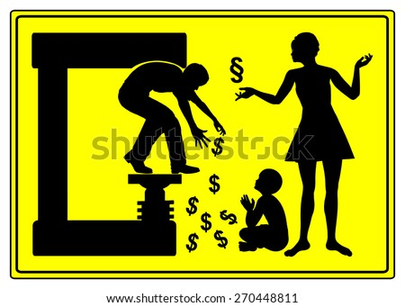 Divorce and Alimony. Humorous warning sign for men showing that divorce can be very costly - stock photo