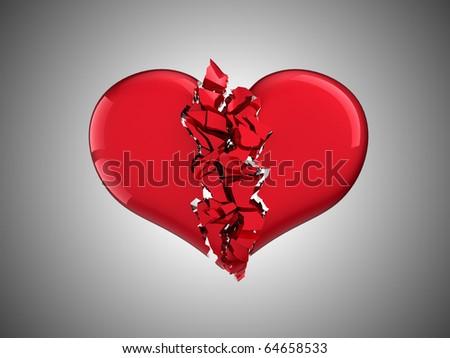 Divorce and love. Broken Heart over grey background - stock photo