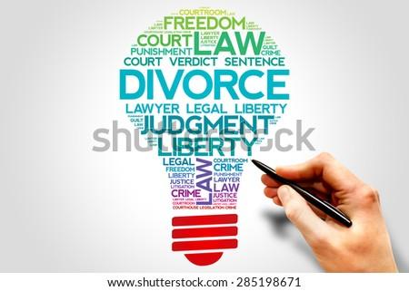 Divorce bulb word cloud concept - stock photo