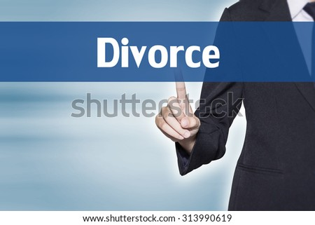 Divorce Business woman pointing at word for business background concept - stock photo