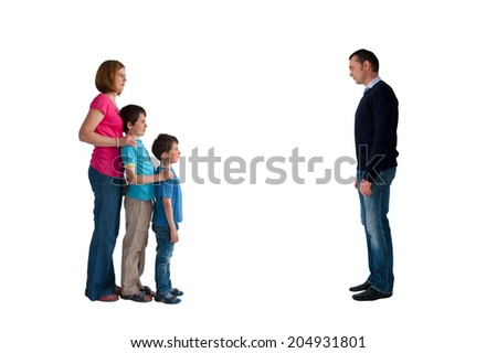 divorce concept family separation man woman and children isolated on a white background - stock photo