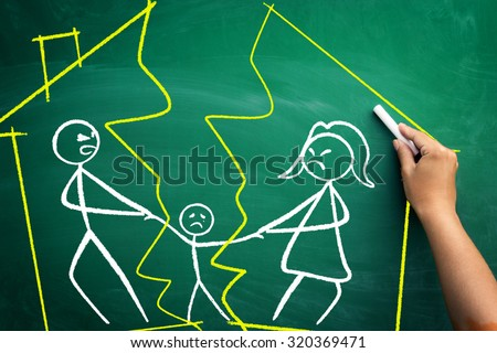 Divorce concept, family split apart with broken home,  scribble on blackboard   - stock photo