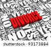 DIVORCE 3D text surrounded by YES and NO words. Part of a series. - stock photo