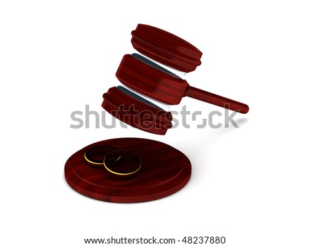 Divorce. Gavel and trauringe isolated on white background. High quality 3d render. - stock photo