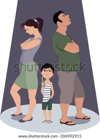 Divorce hurts children - stock photo