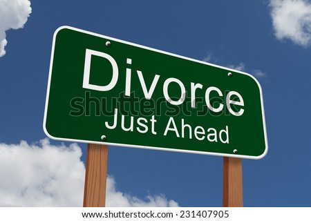 Divorce Just Ahead Sign, Green highway sign with words Divorce Just Ahead with sky background - stock photo