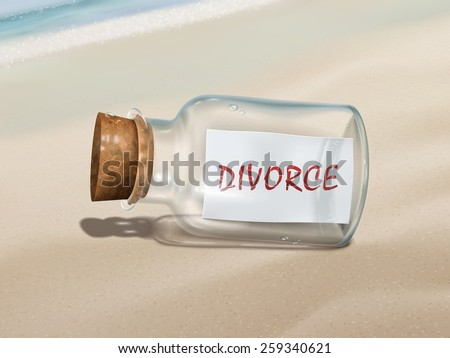divorce message in a bottle isolated on beautiful beach - stock photo