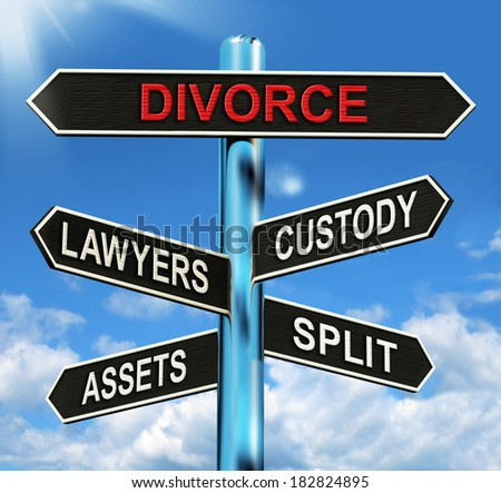 Divorce Signpost Meaning Custody Split Assets And Lawyers - stock photo