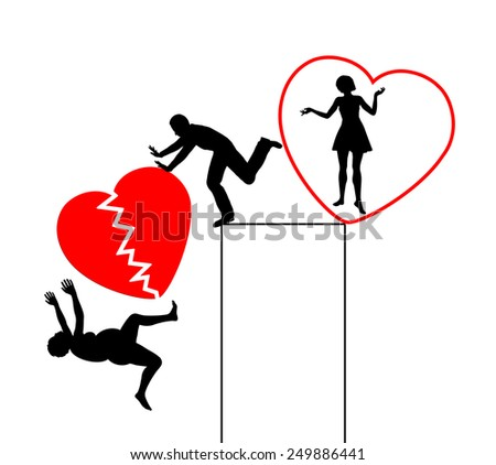 Divorce with Broken Heart. Husband divorcing in exchange for young and attractive woman - stock photo