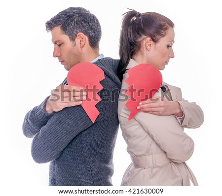 divorced separating couple - stock photo