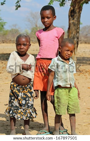 DIVUNDU, NAMIBIA - OCTOBER 29: Hambukushu Tribe Children near Divundu on October 29, 2013. They lives in the Region of Kavango and in the Moment they have a lot of problems with drought in this Region