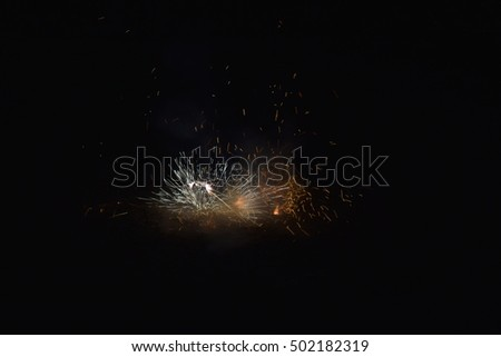 Diwali, crackers, fire of cracker explosion on black background